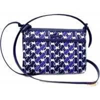 Bolsa Lacoste. Small Flat Crossover Azul Marinho e Branca afba50e2b10