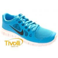 Tênis Nike Free 5.0 (GS). azul e branco 6c7cd3d428c88
