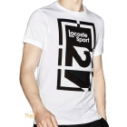 0b79c524b15 Camiseta Lacoste Sport Technical Jersey Abstract Branca e Preta. Código   TH8944