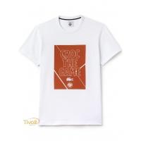 ebe4dd4777579 Camiseta Lacoste. Roland Garros Croc The Game Branca Estampada