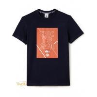 fd3a74fdb99f7 Camiseta Lacoste. Roland Garros Croc The Game Azul Marinho Estampado