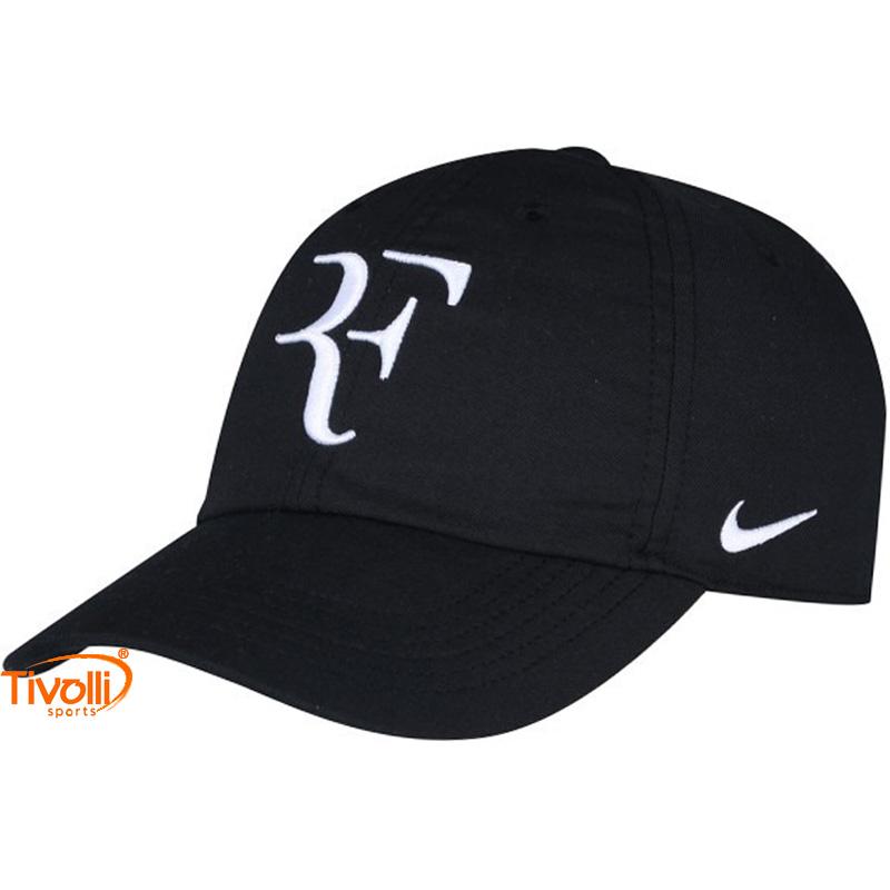 61a925826484e Raquete Mania   Boné Nike   RF Hybrid Preto e Branco - Roger Federer