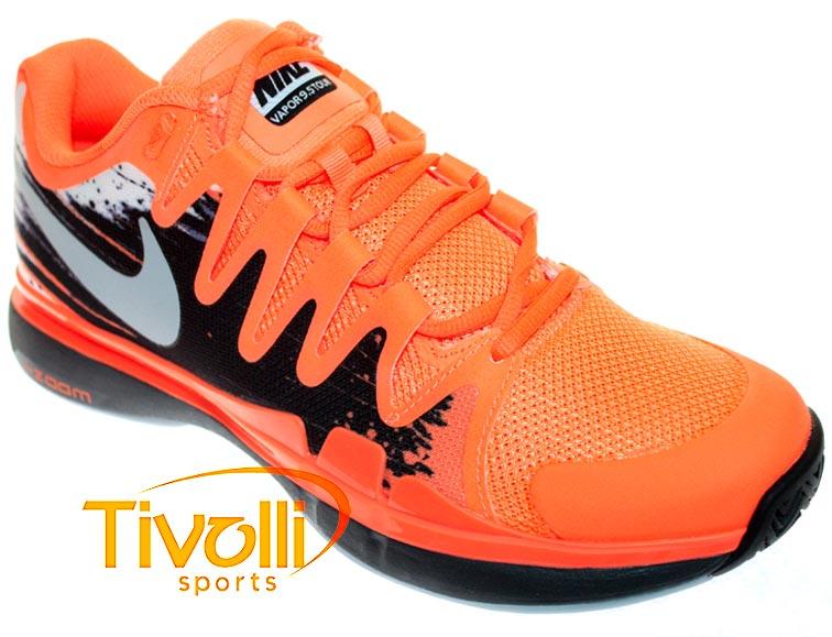 15c3240ce18 Tênis Nike Zoom Vapor 9.5 Tour Laranja e Preto (Federer). Código  631458-800