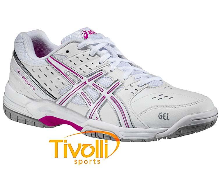 Raquete Mania   Tênis Asics   Gel Dedicate 3 Branco e Rosa a2b12f7edb83e