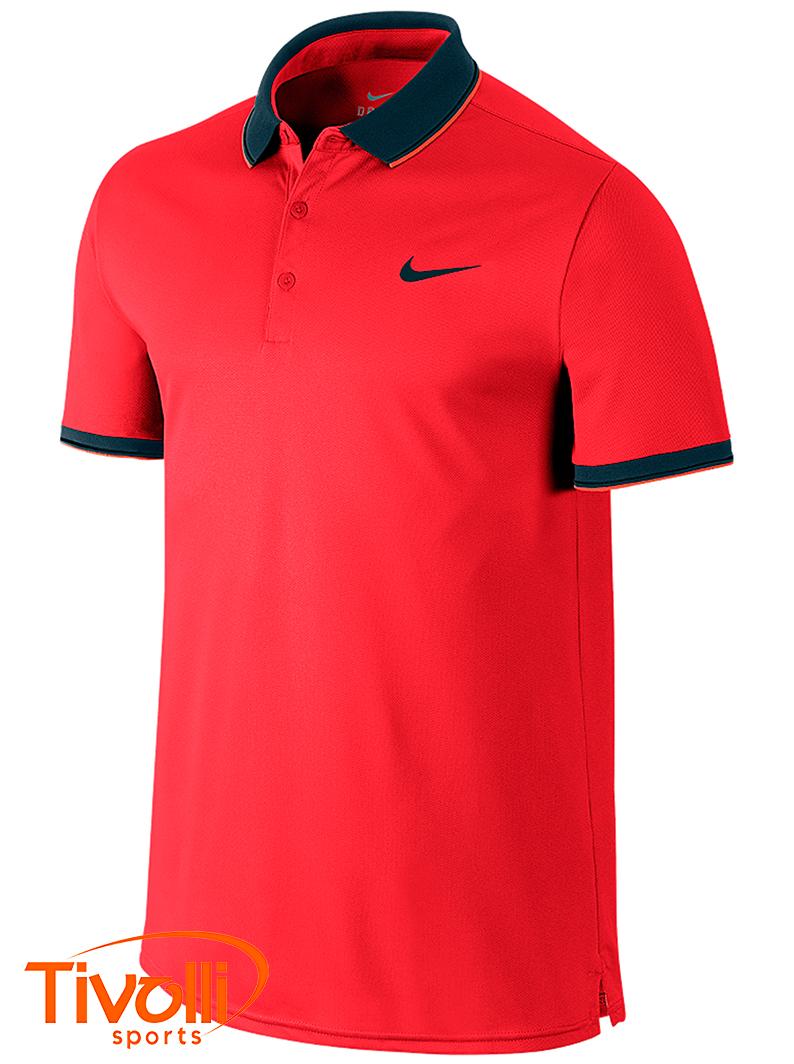 Raquete Mania   Camisa Polo Nike   Court Masculina Vermelha e Preta f506478763ce2