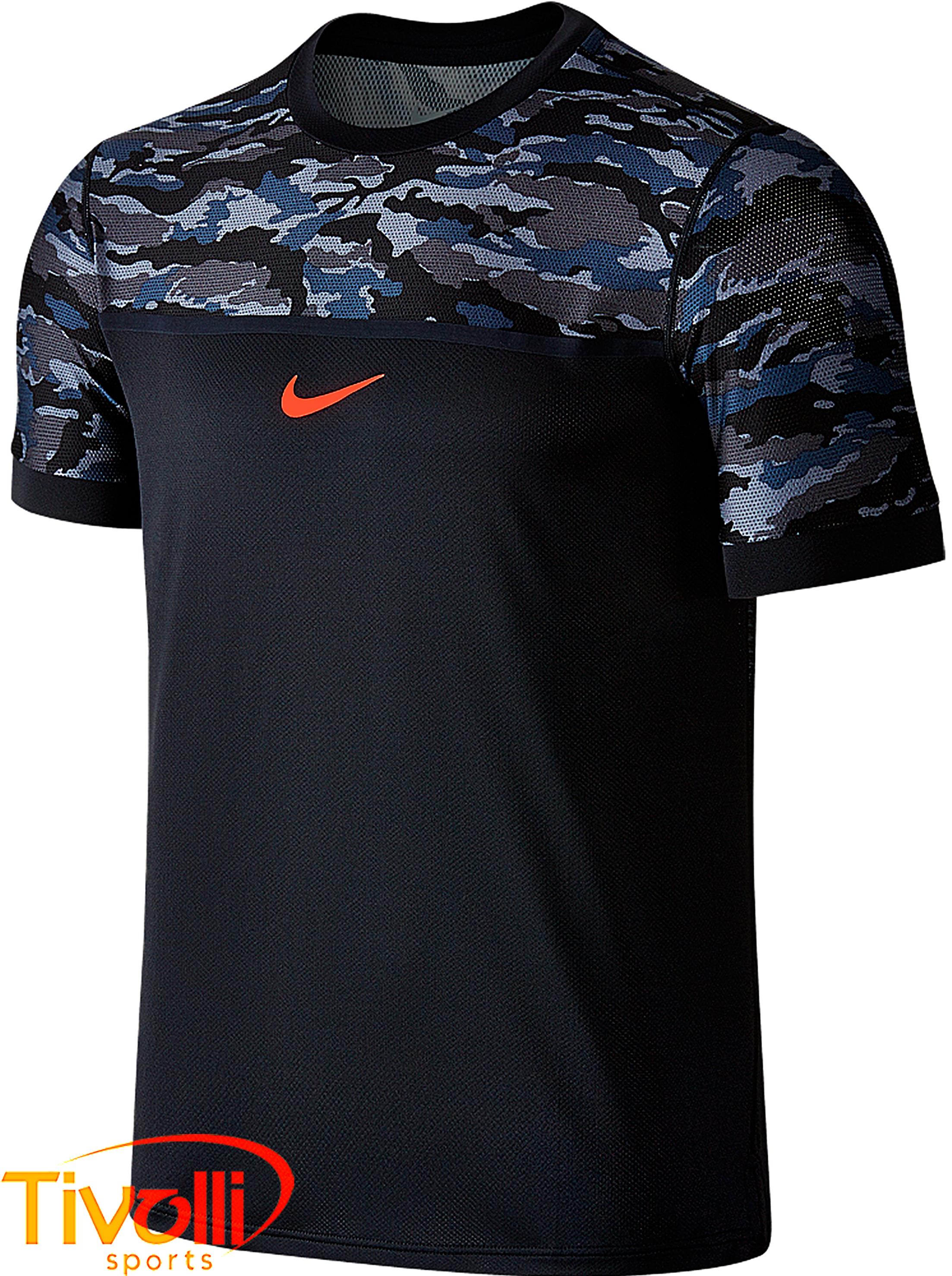 88e85f9d05 Camiseta Nike Challenger Premier Rafa Crew Preto Camuflada - US Open 2015 (Rafael  Nadal)