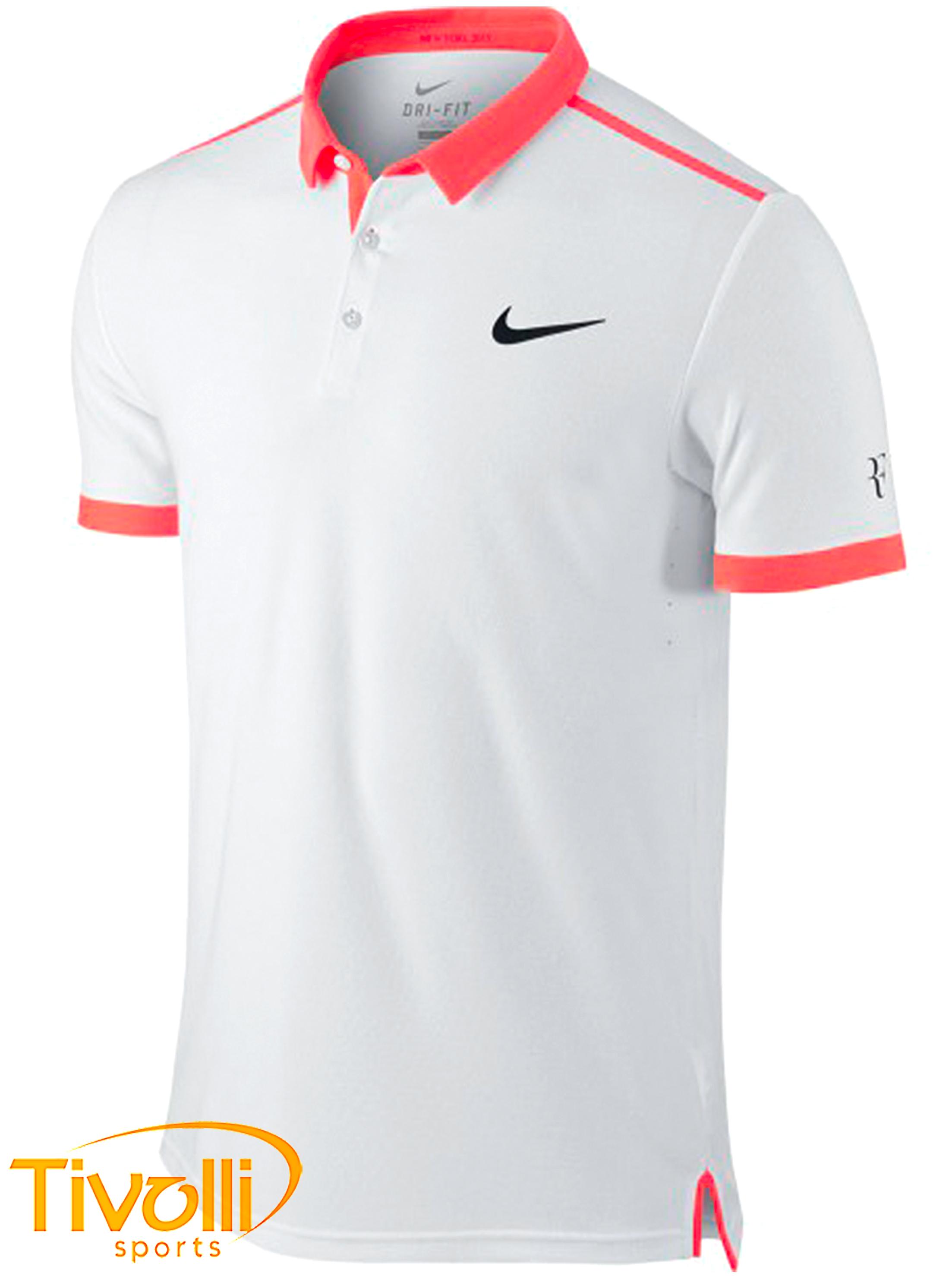 d7b12151ade Camisa Polo Nike Court Advantage Premier RF Branco e Salmão - Roger Federer  - US Open 2015