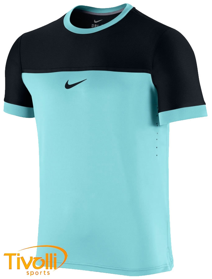 a5e23988c3 Camiseta Nike Challenger Premier Rafa Crew Verde Água e Preta - Rafael Nadal