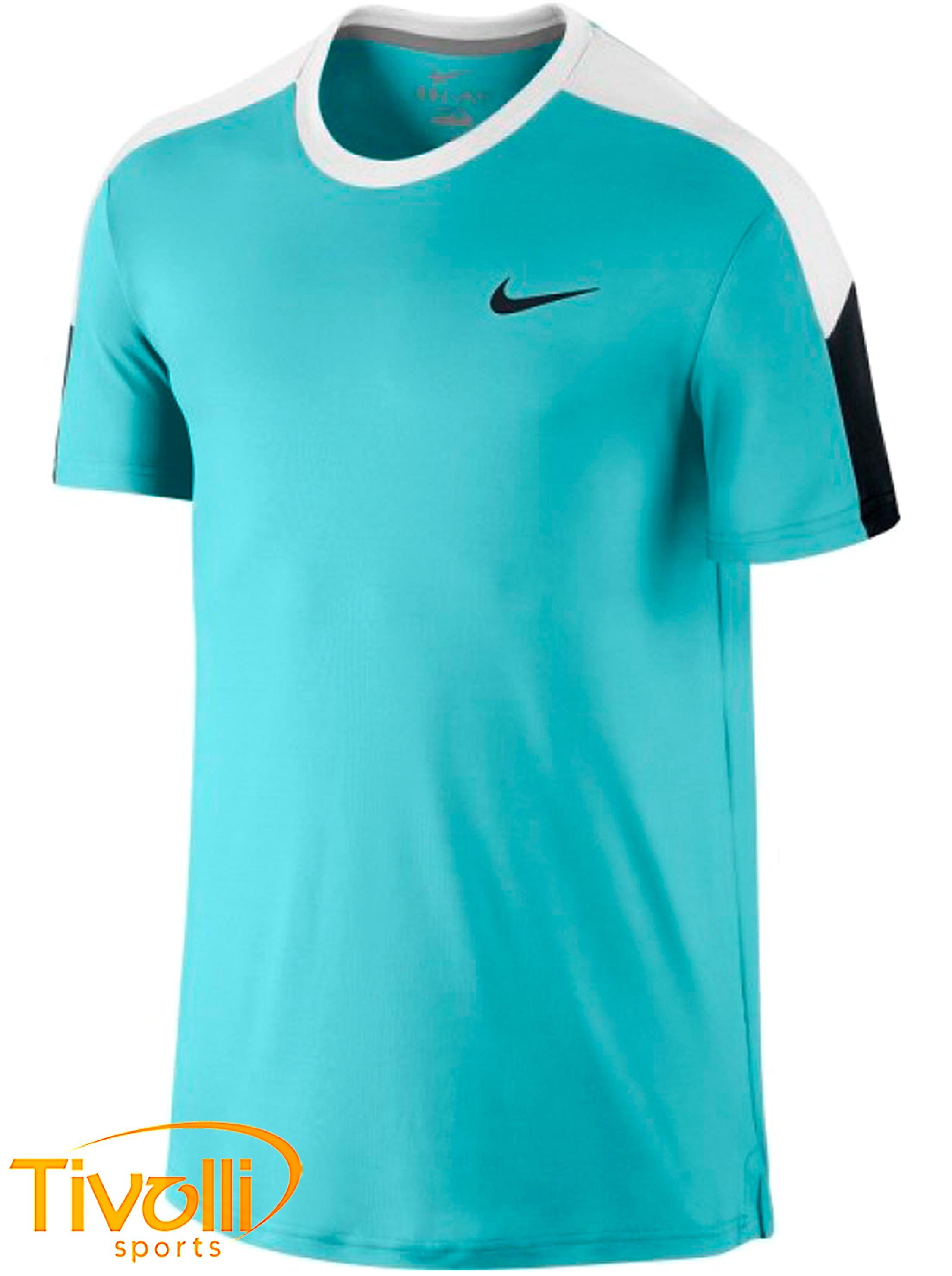 Raquete Mania   Camiseta Nike   Team Court Crew Azul Turquesa ... f84abd3e109e7