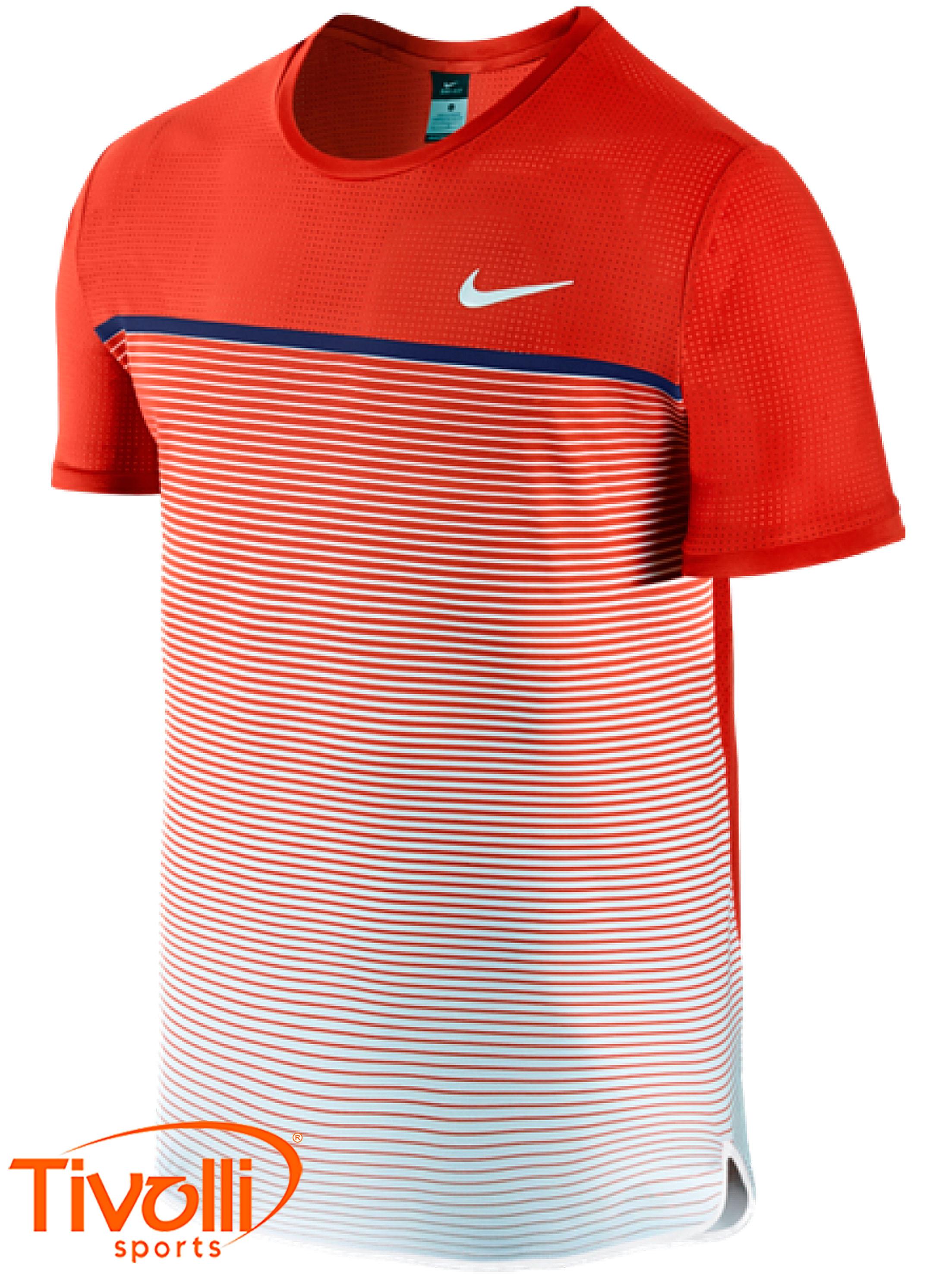 dbdecefe8335c Raquete Mania   Camiseta Nike   Challenger Premier Crew Vermelha ...
