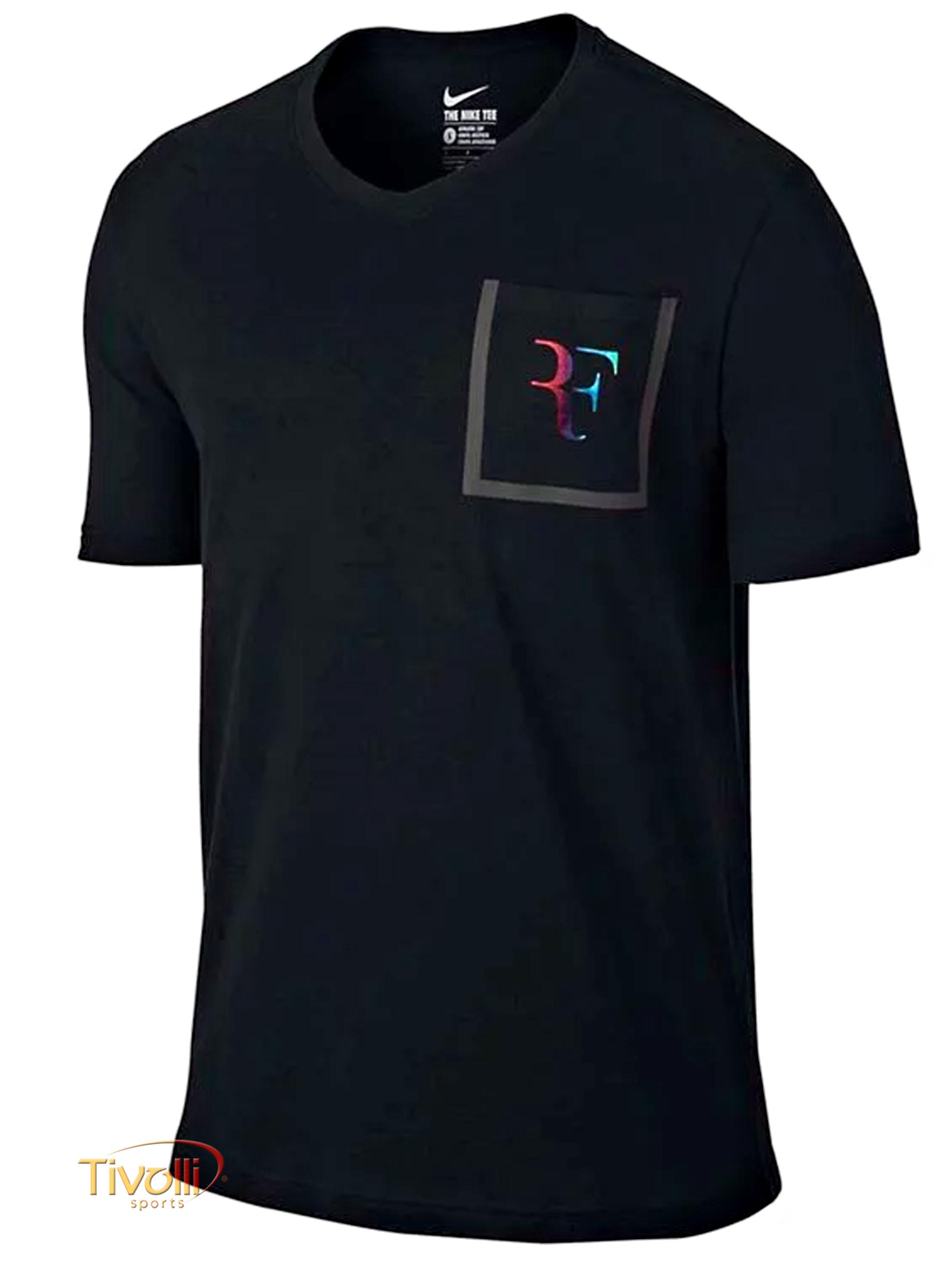 Camiseta Nike Fall RF Stealth Pocket Preta e Arco-Íris - Roger Federer -  Wimbledon 2016 74d5543798bff