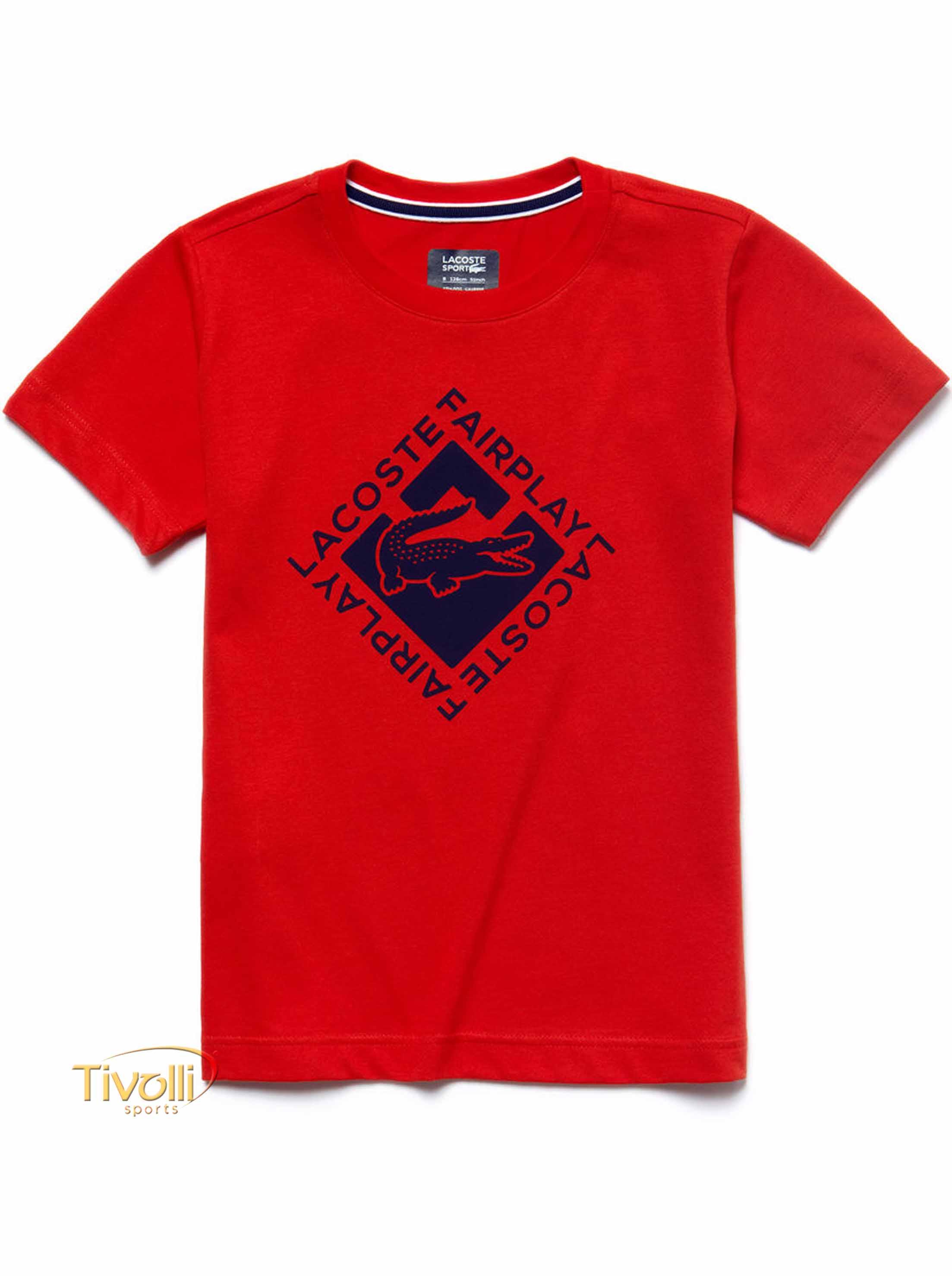 4bdc096daa8 Raquete Mania   Camiseta Lacoste   Fair Play Vermelha Estampada
