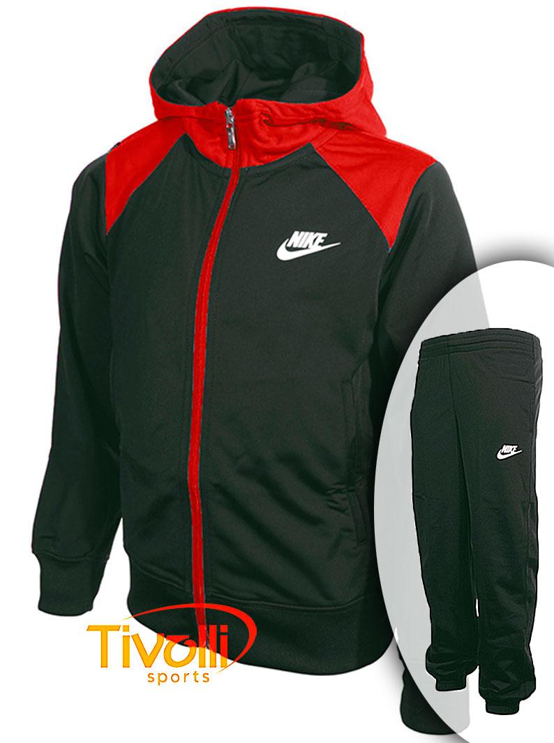 ecf93fea1f2c5 Agasalho infantil Nike Futura Tricot Hooded Tracksuit Chumbo e vermelho