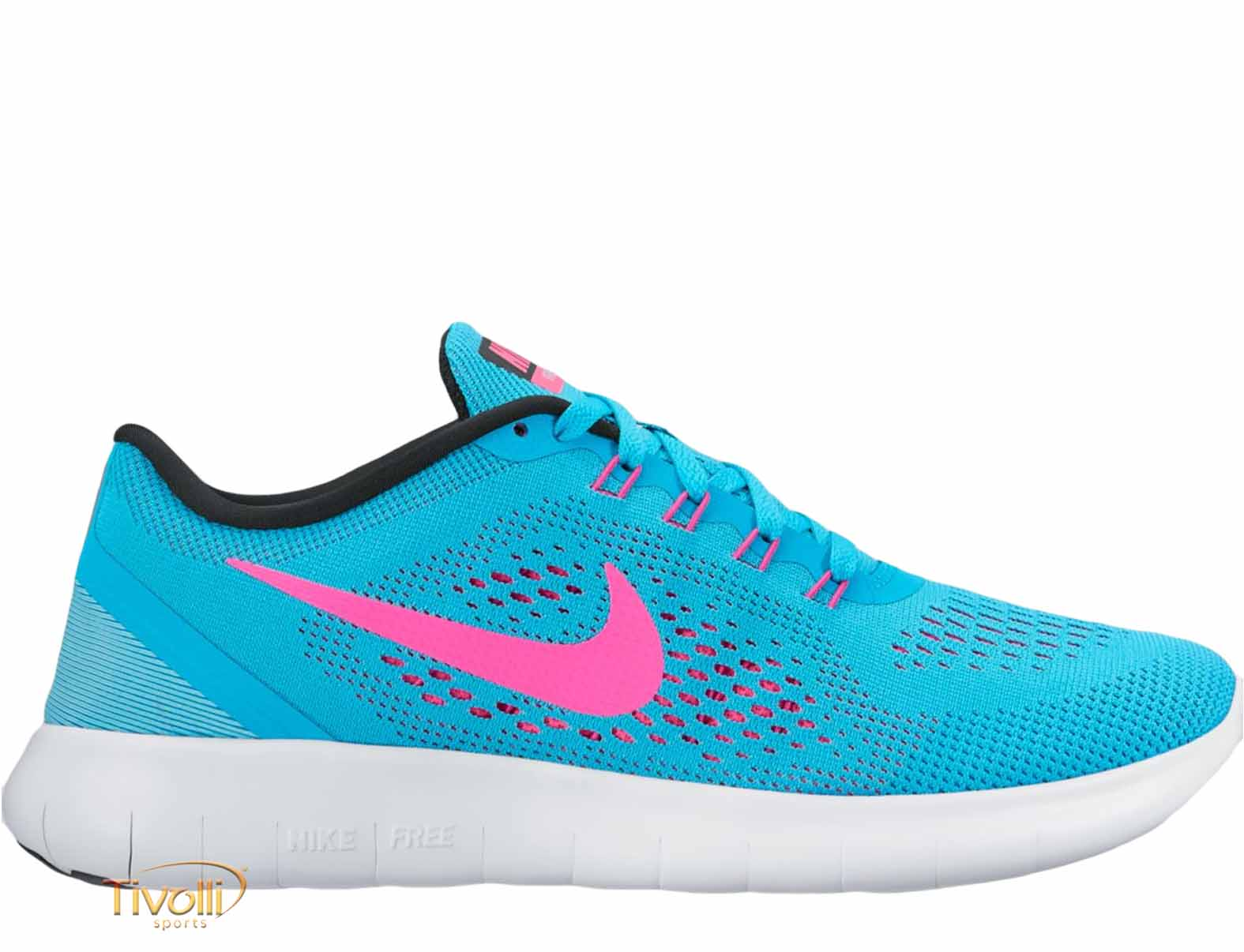 Raquete Mania   Tênis Nike Free RN feminino   Azul e Rosa Pink 3d2447a415