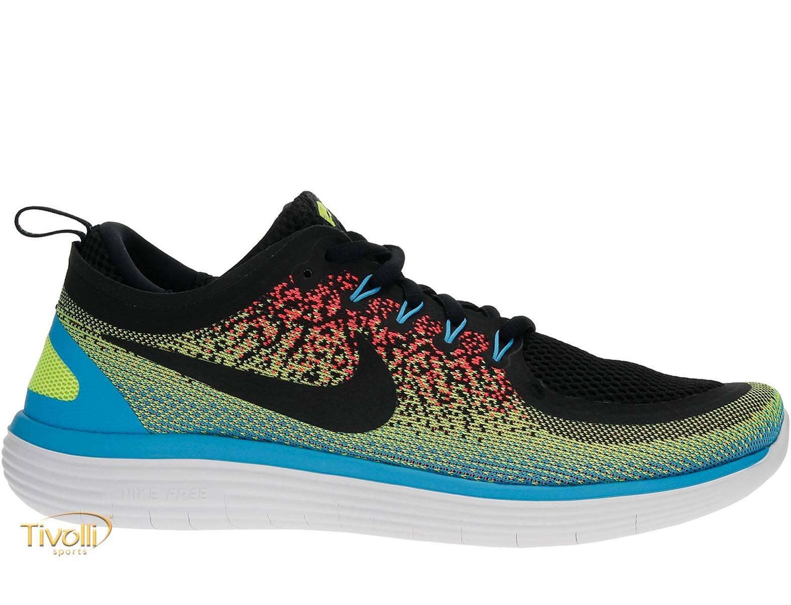 sports shoes 55b1d 5a19a Tênis Nike Free RN Distance 2 Azul, Branco, Preto, Verde e Rosa