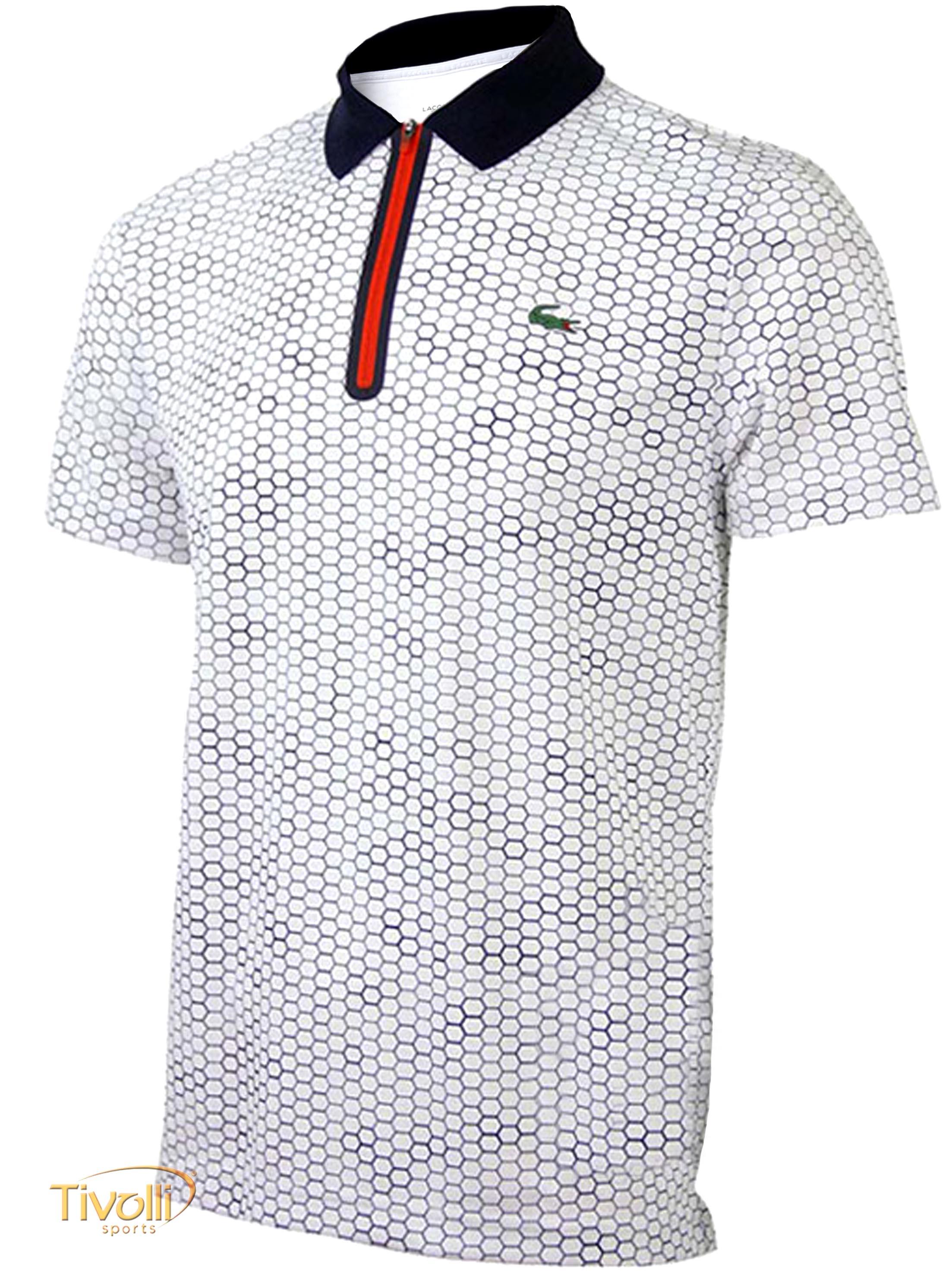 Raquete Mania   Camisa Polo Lacoste   Fancy 1 Branca, Marinho e Vermelha 2400cab254