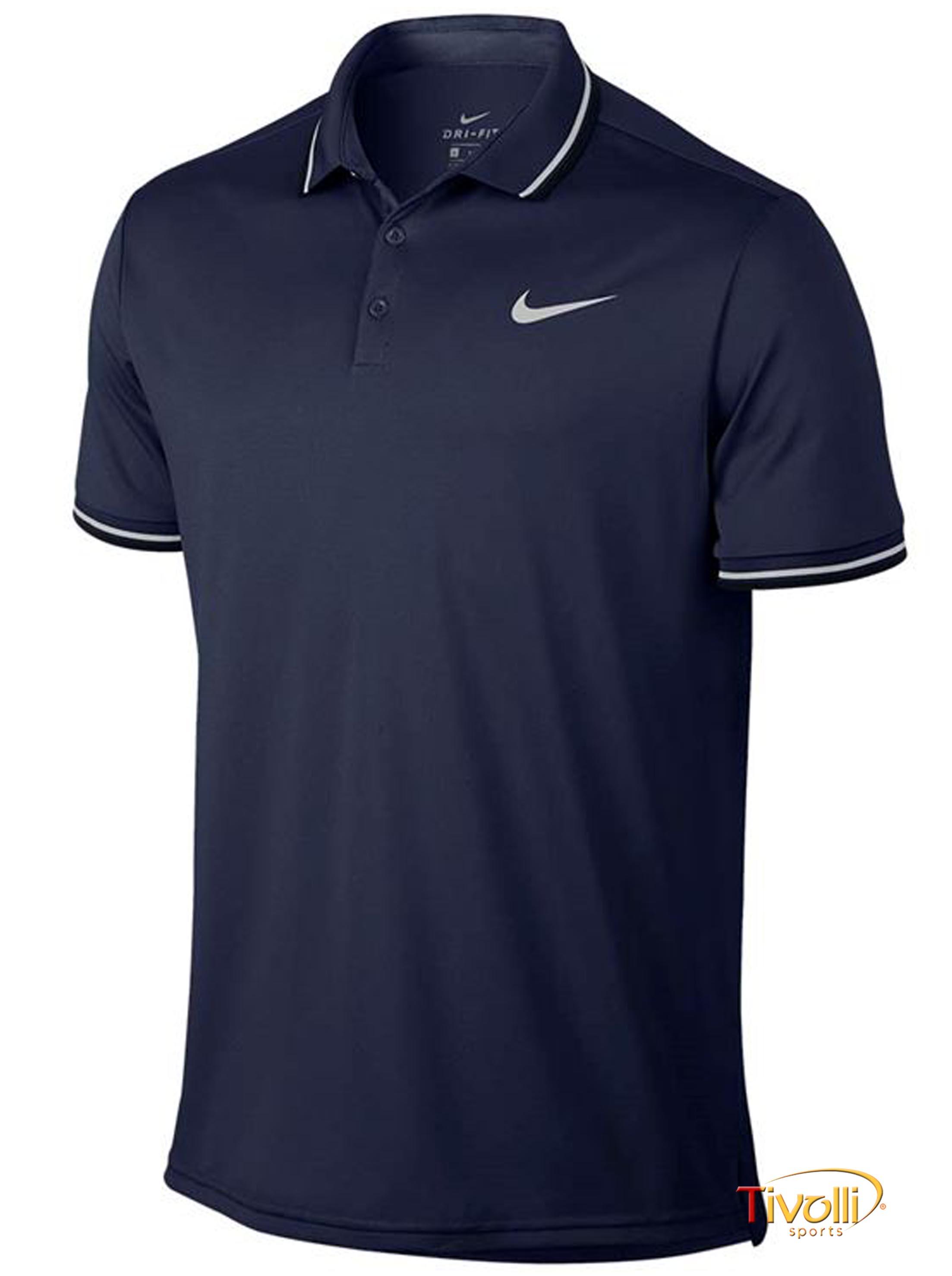 444b63d2d4 Raquete Mania   Camisa Polo Nike Court Dry Solid   Azul Marinho