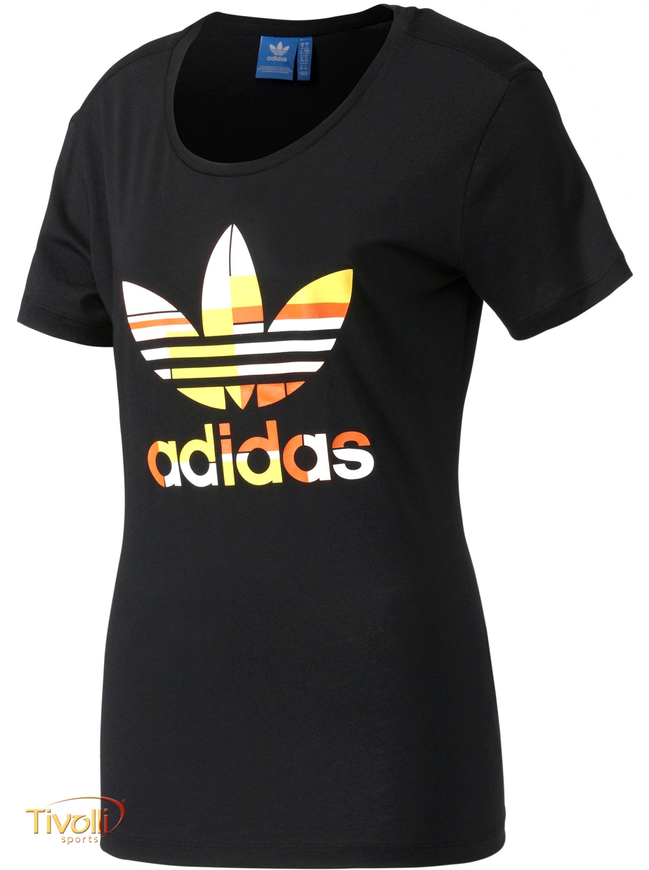 Raquete Mania   Camiseta Adidas Graphic Trefoil   Feminina Preta ... 5c0ab80161d54