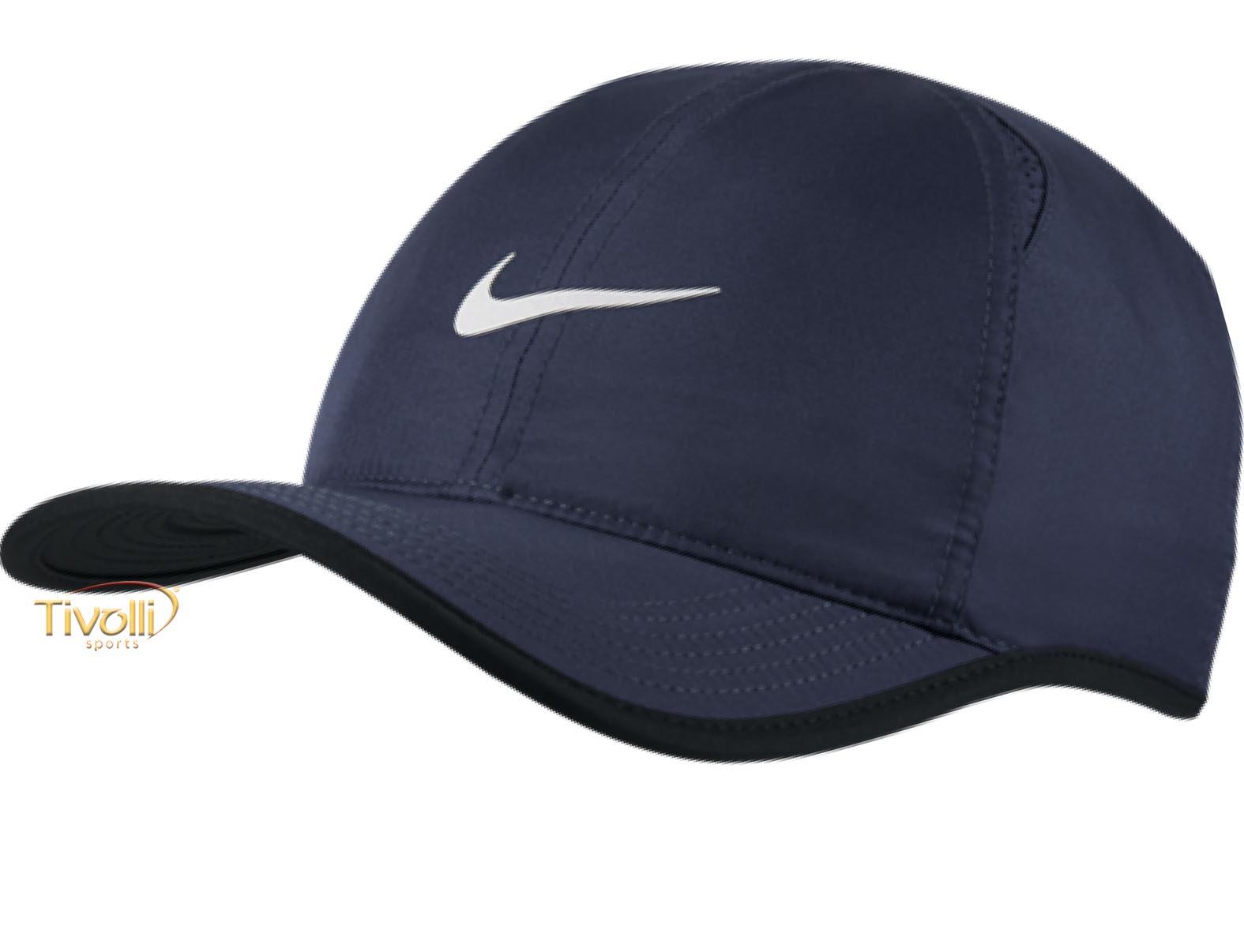 Raquete Mania   Boné Nike Featherlight   Azul Marinho e Preto 38fd1a705eb