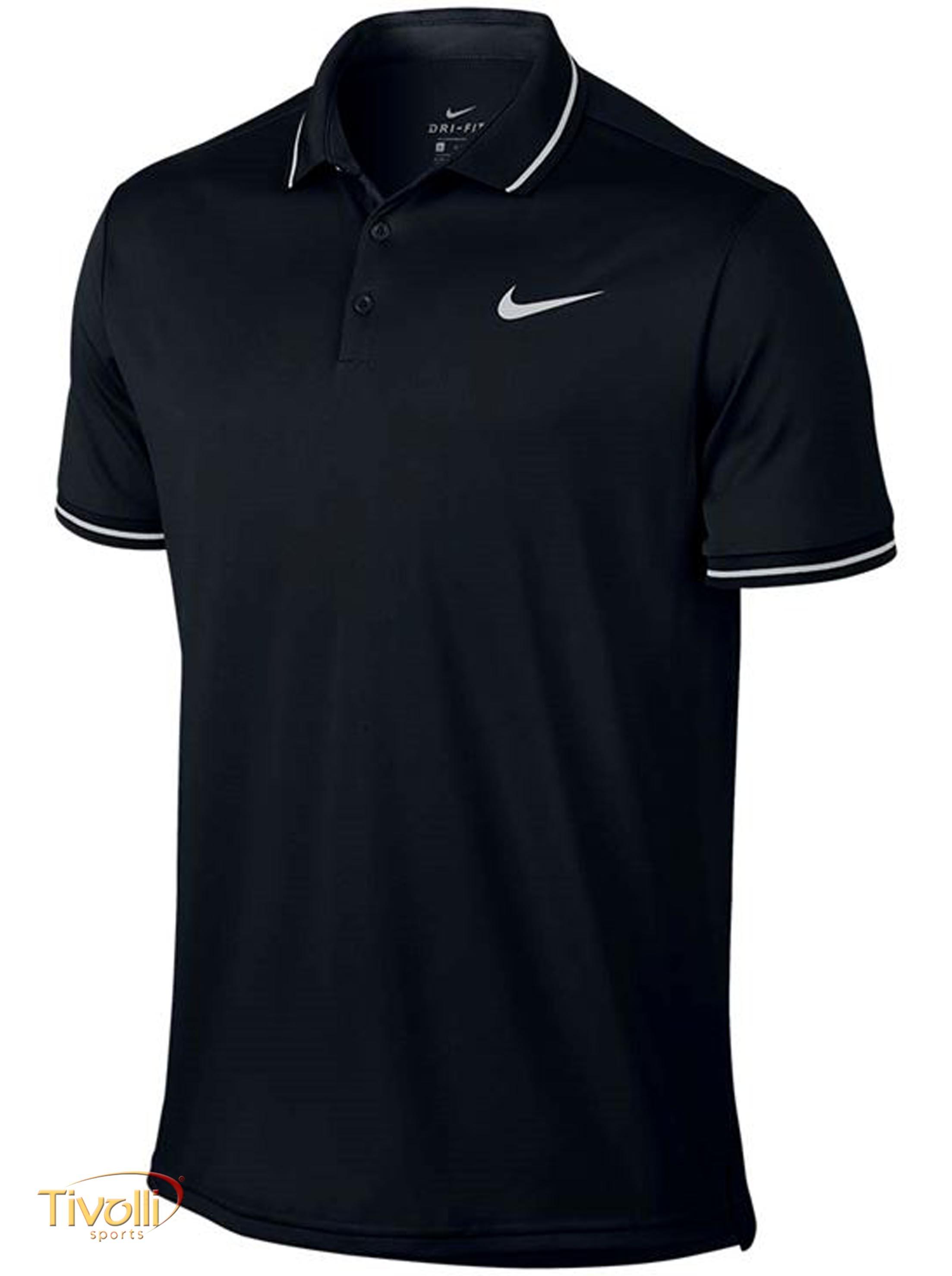 57de78f5c Raquete Mania   Camisa Polo Nike Court Dry Solid   Preta e Branca