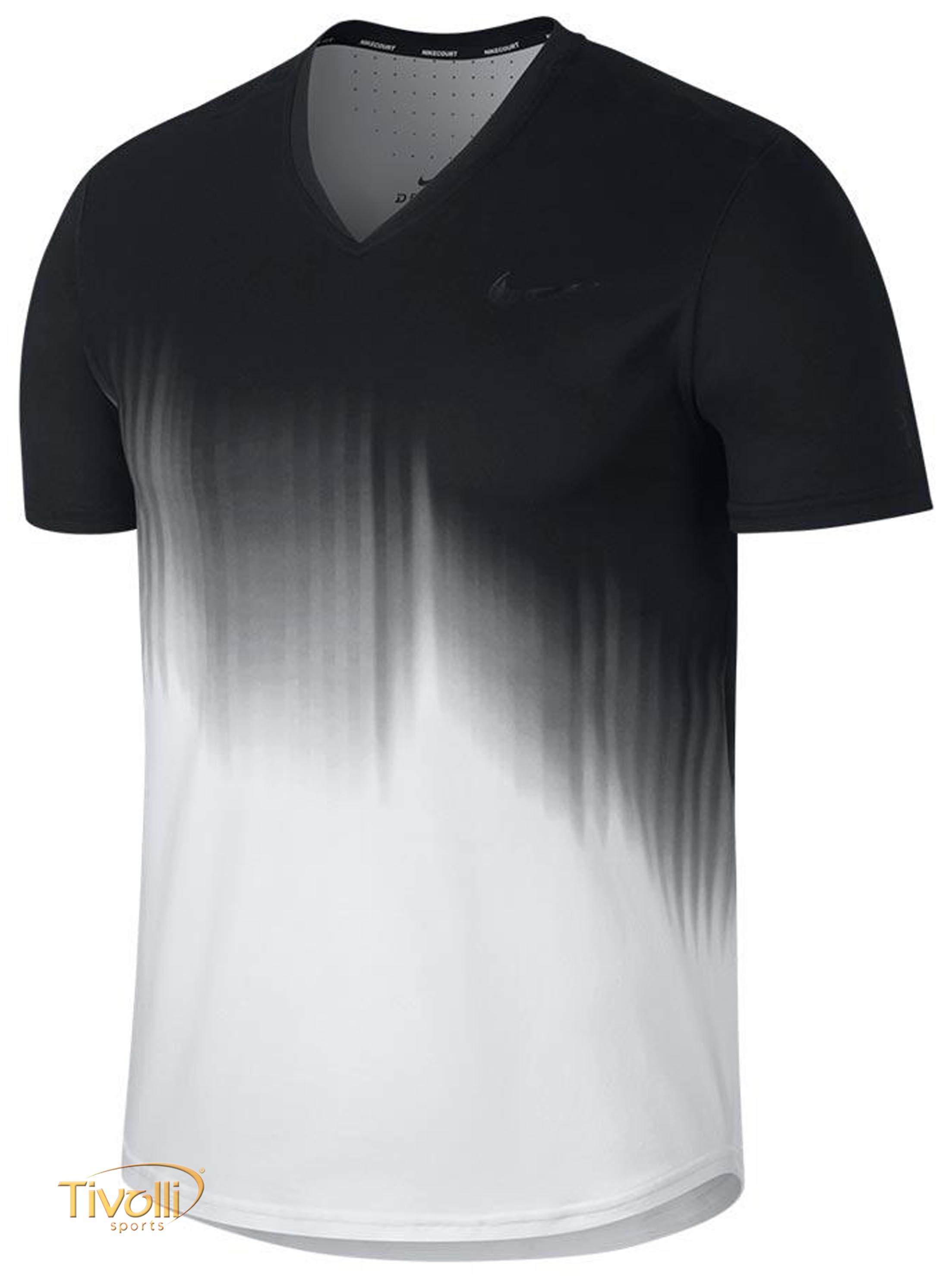 Raquete Mania   Camiseta Nike Court Roger Federer   Preta e Branca 2b6b88b964a8d