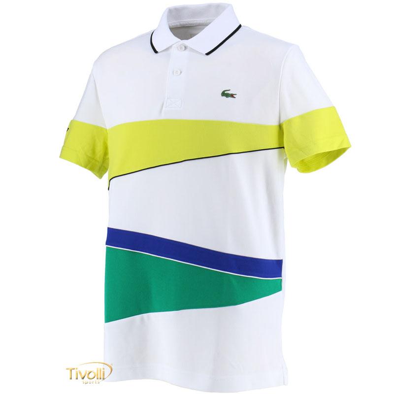 Raquete Mania   Camisa Polo Lacoste Sport   Branca, verde e Azul ... 48b3d96b96