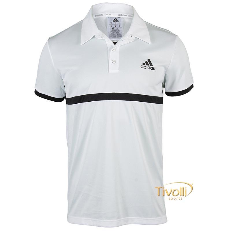 9c9a323f7b Raquete Mania   Camisa Polo Adidas Court   Branca e Preta